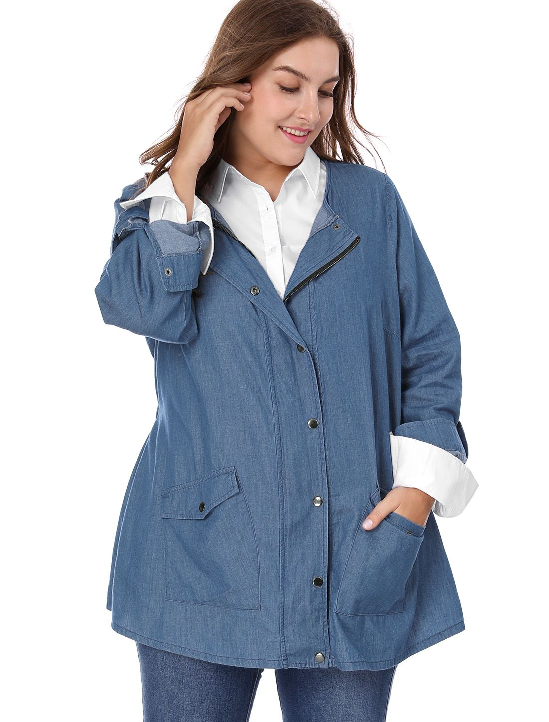 Women Plus Size Roll-up Long Sleeve Snap Button Closed Denim Jacket -  Outerwear a737ada630