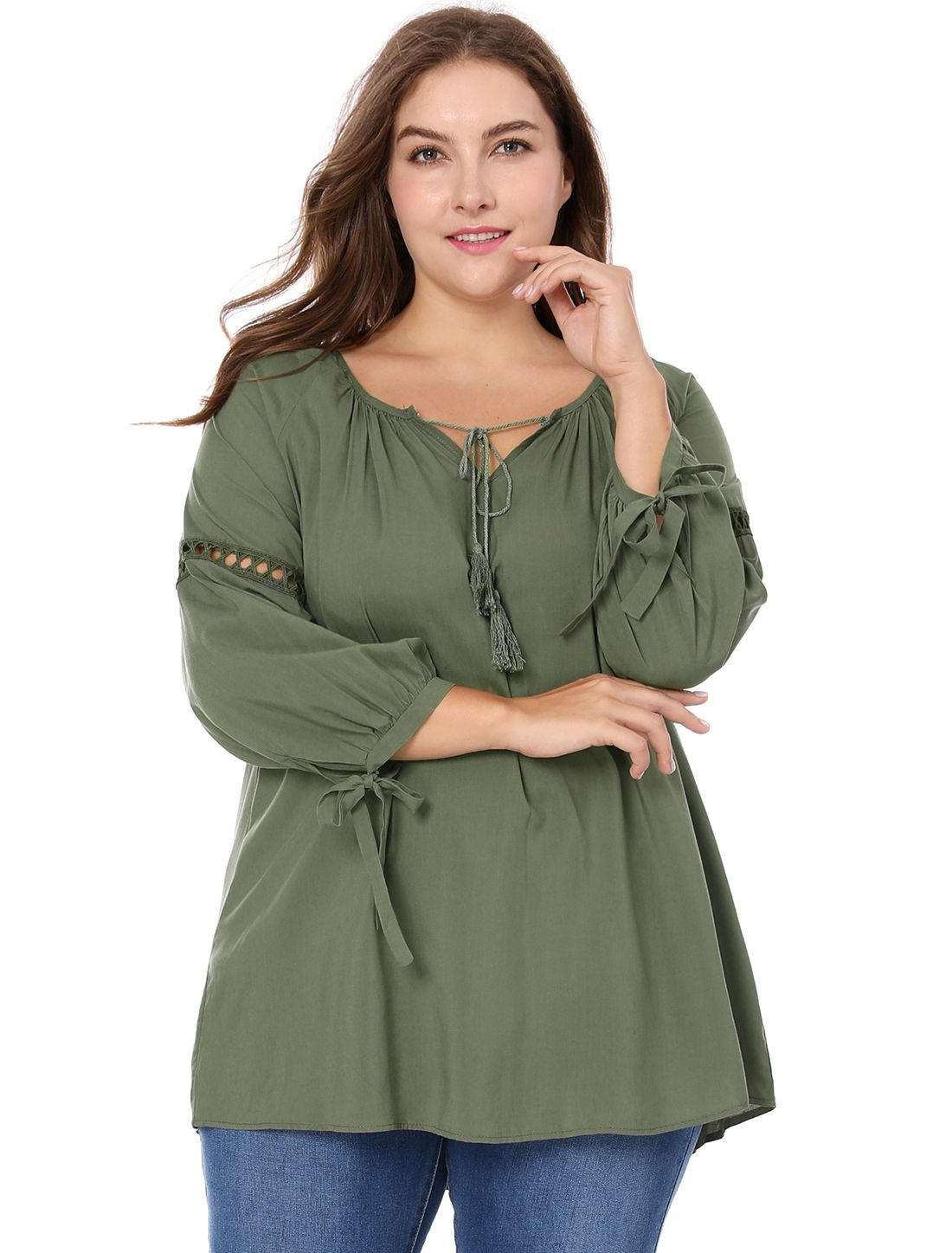 85757215a4c80d Women Plus Size Raglan Sleeves Hollow Out Tie Neck Tunic Top - Top   Blouses