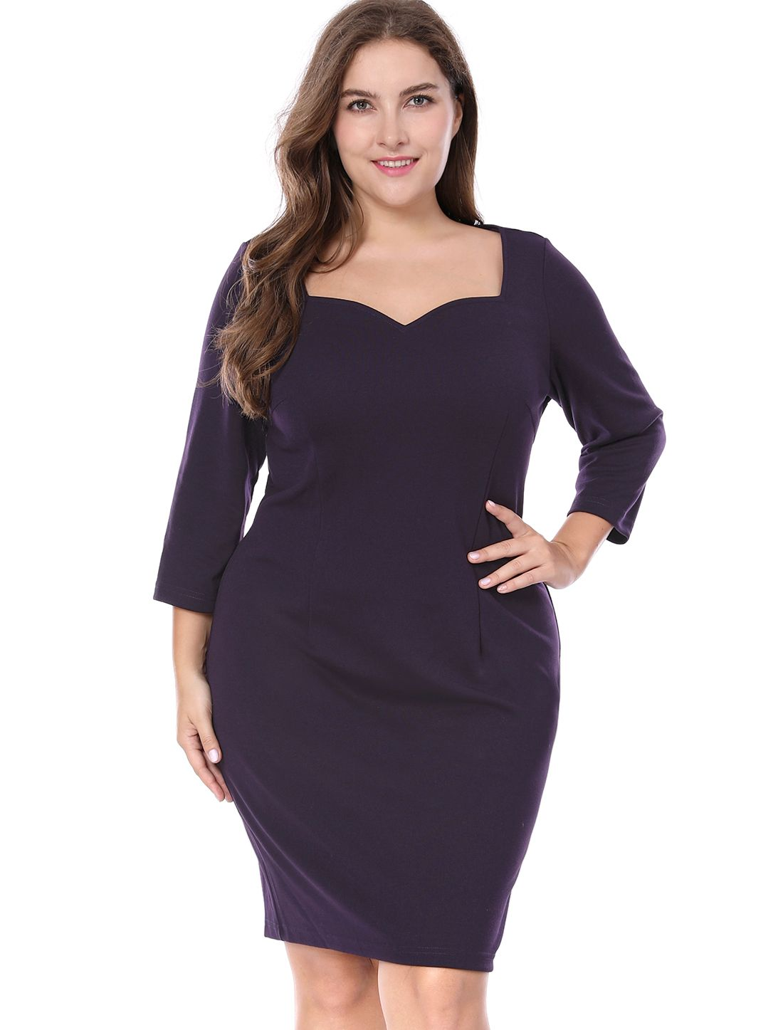 dd887931934 Women Plus Size 3 4 Sleeve Sweetheart Party Sheath Dress - Dress