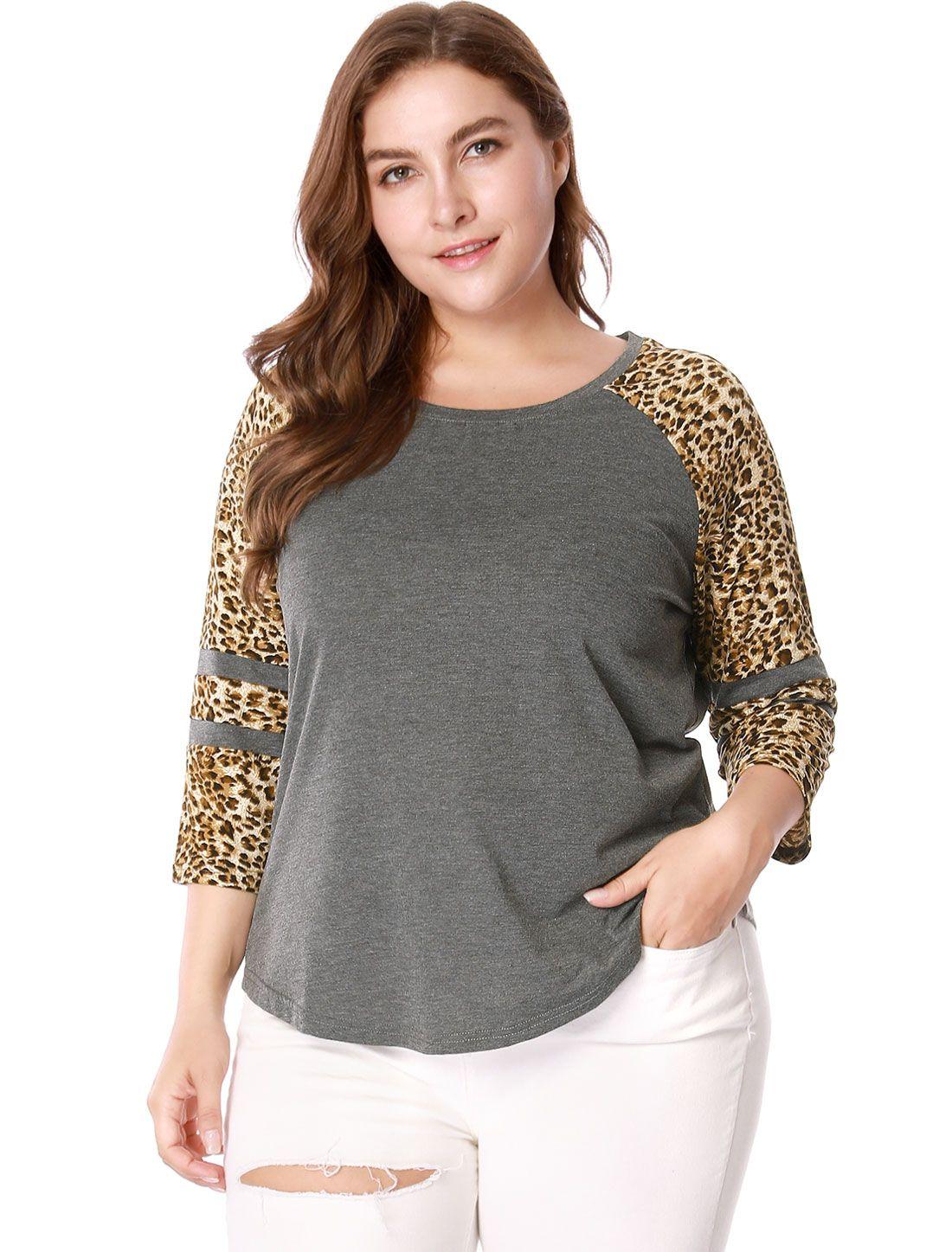 e0dc2b0c99b8b Women Plus Size 3 4 Raglan Sleeve Contrast Leopard Print T-shirt - Top    Blouses