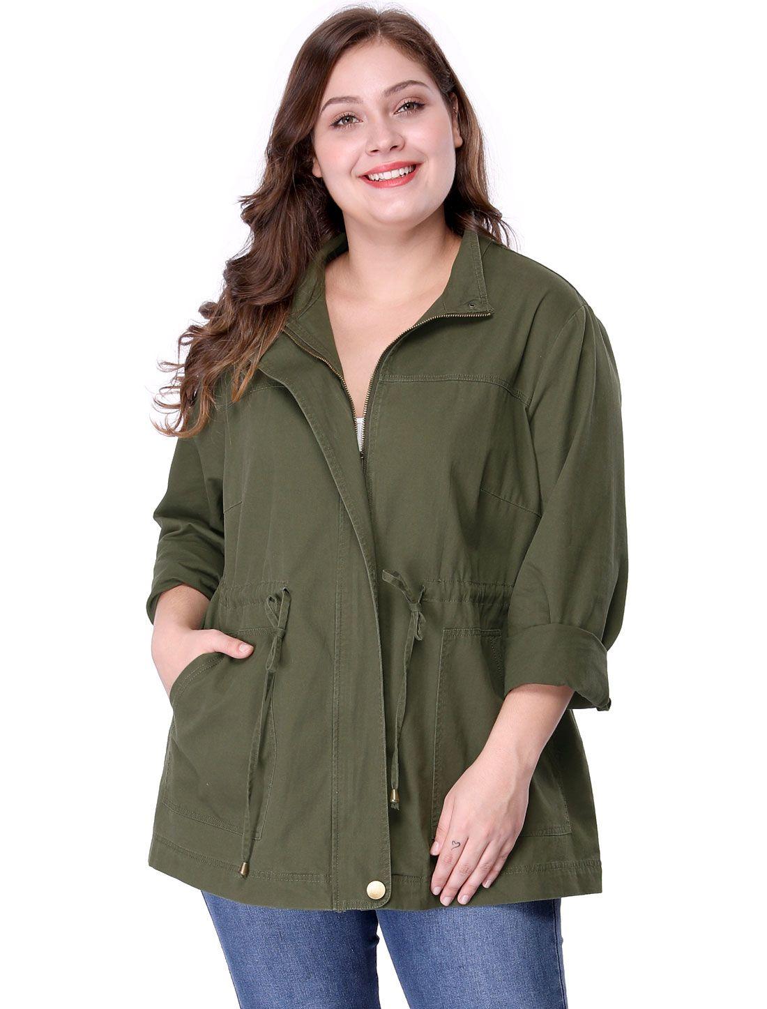 b9b61890344 Women s Plus Size Stand Collar Drawstring Utility Jacket - Outerwear