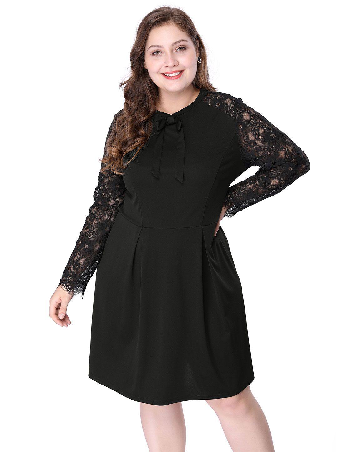 Women\'s Plus Size Above Knee Tie-Bow Semi Sheer Black Lace Dress