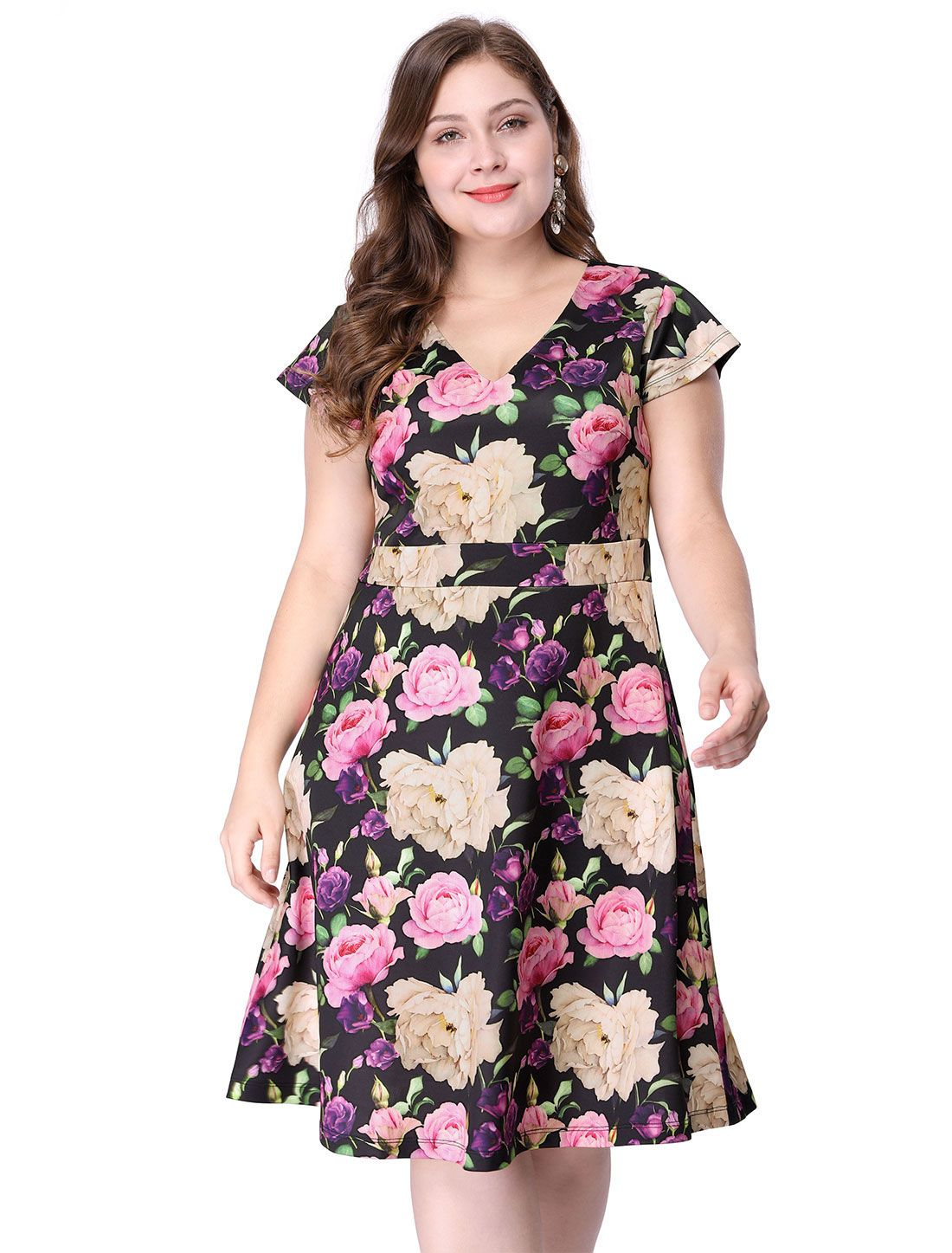 Women\'s Plus Size Above Knee Cap Sleeve V Neck Floral Dress - Dress