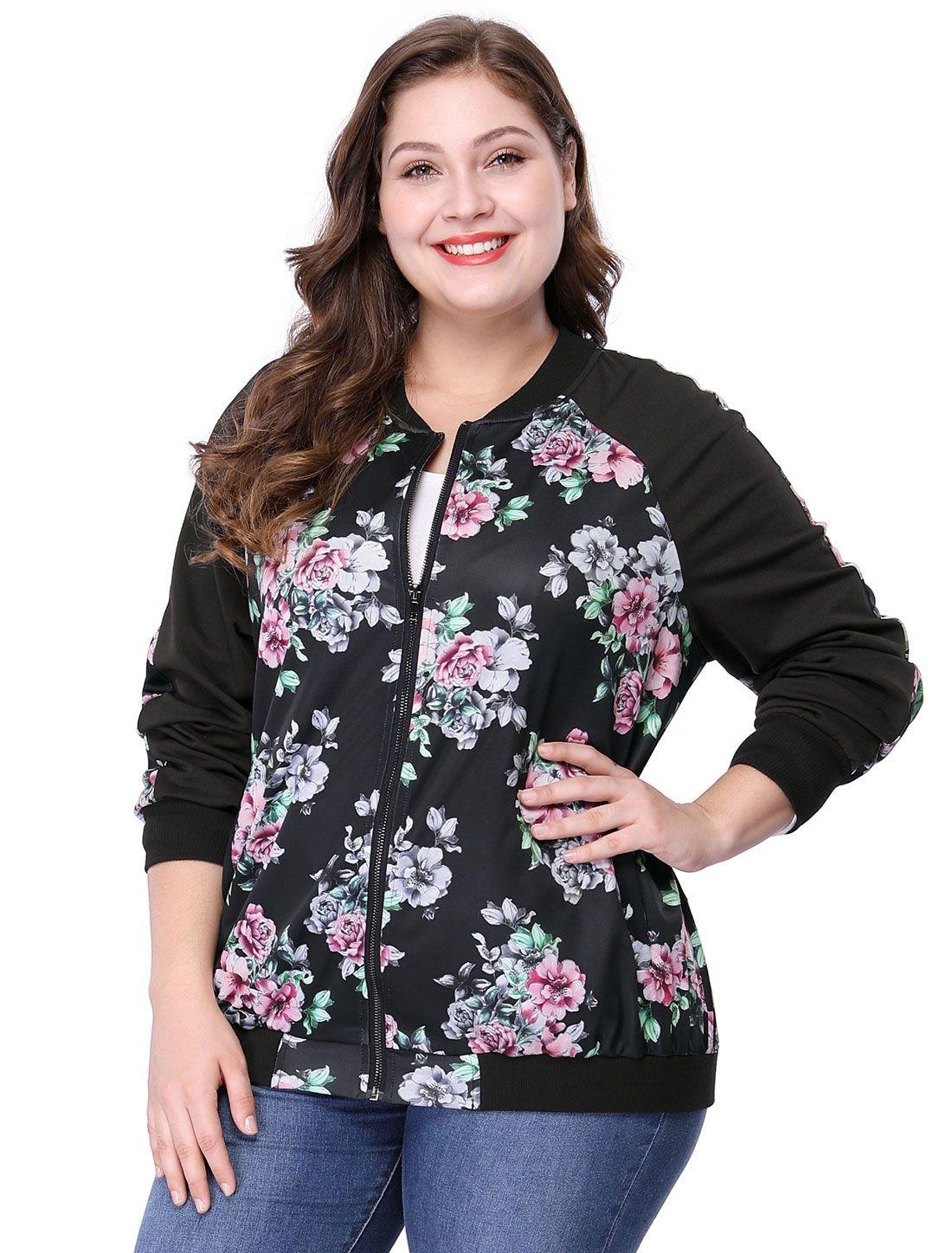 064a89cd19e24 Women s Plus Size Zipper Raglan Sleeves Floral Bomber Jacket - Outerwear