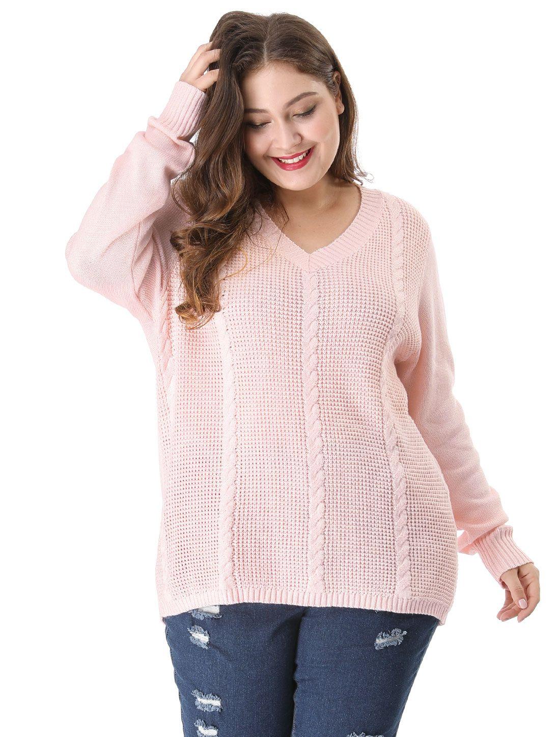 ff618e15d3b Women's Plus Size Cable Knit Long Sleeve V Neck Sweater