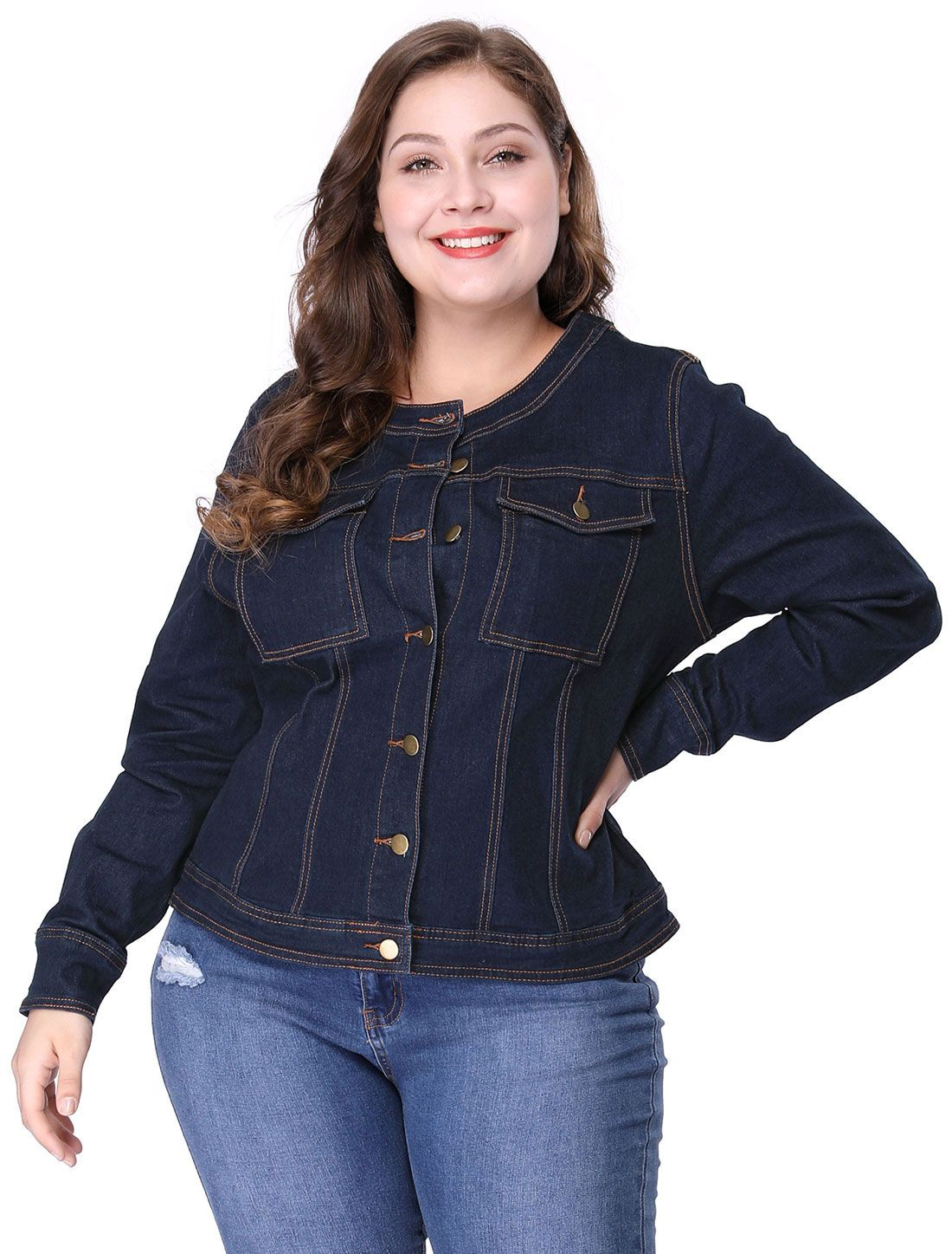 f91e97a9a87 Women's Plus Size Long Sleeves Collarless Denim Jacket - Outerwear