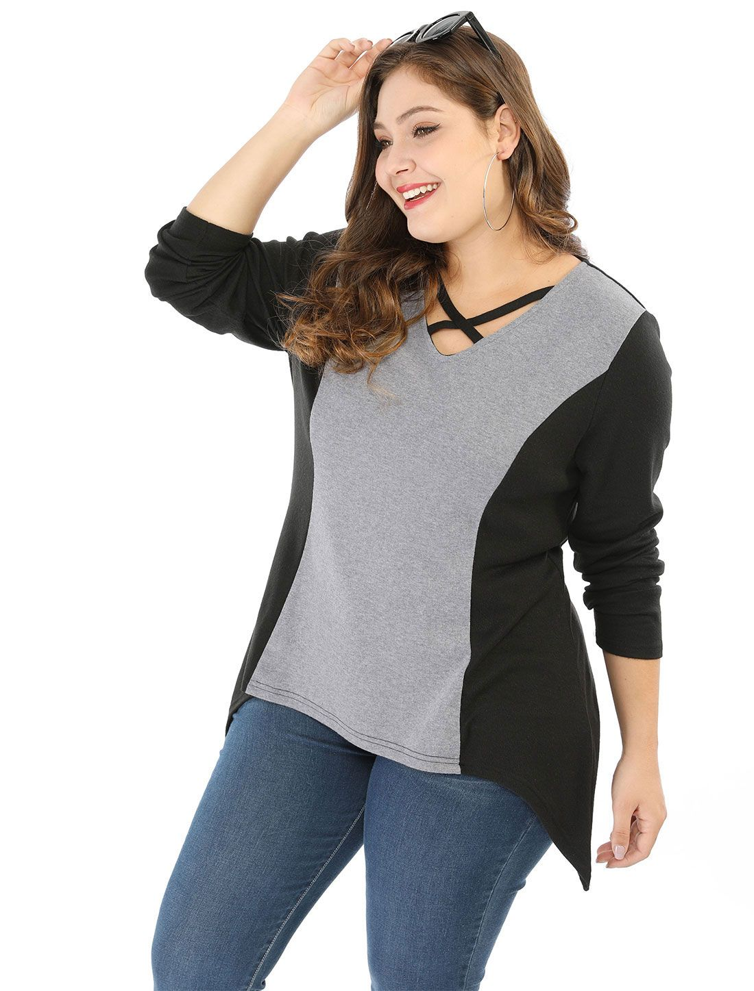 Womens Plus Size Tunic Tops Criss Cross V Neck Long Sleeve T Shirt Casual  Tops