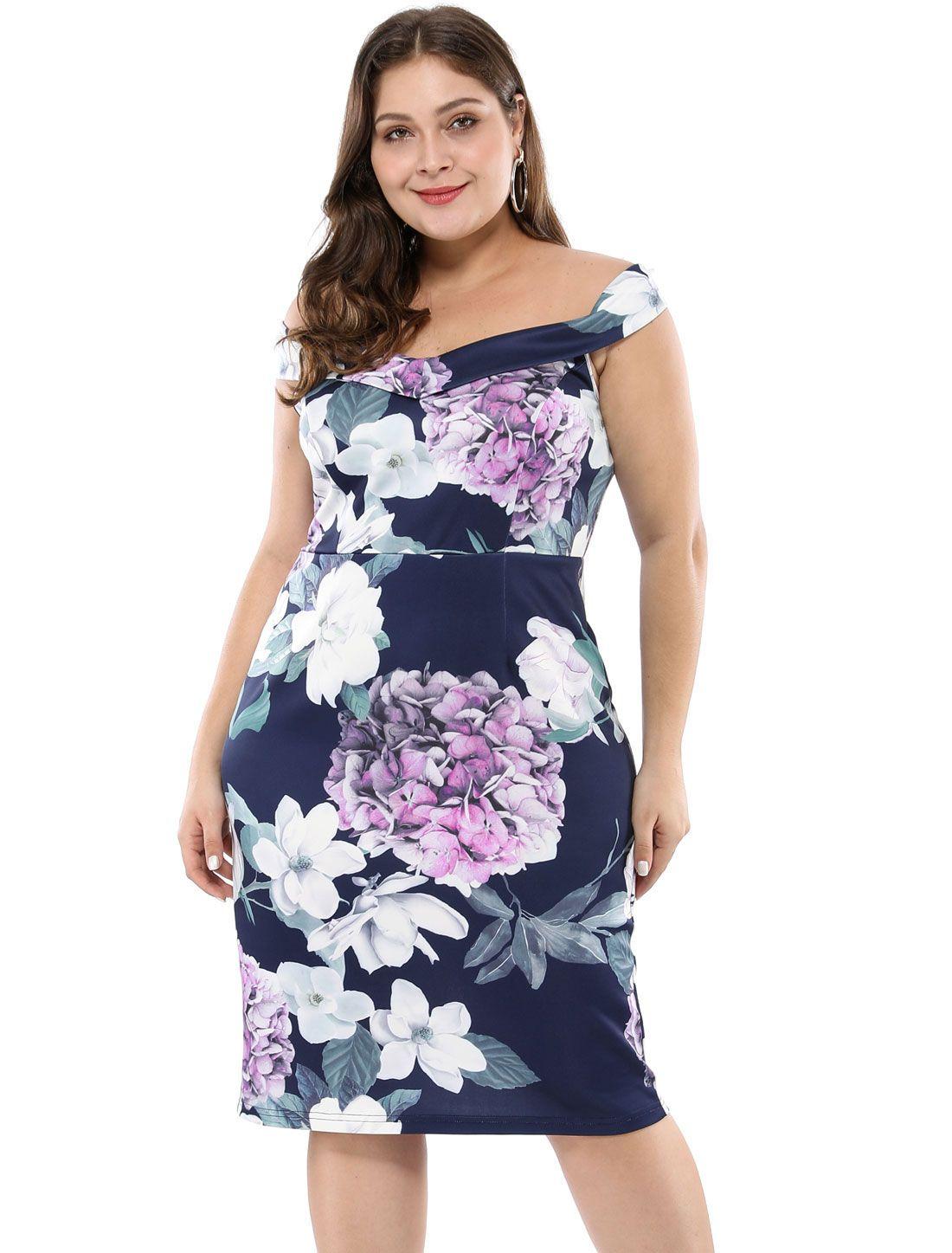 dd553b28a8e4 Women's Floral Print Off Shoulder Plus Size Cocktail Dress