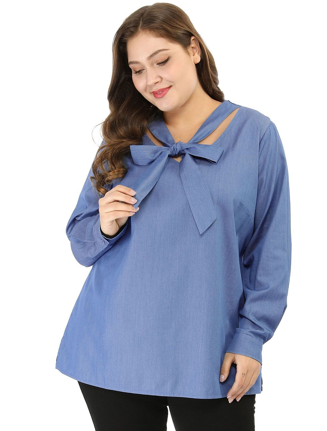 Women\'s Plus Size Tie Neck Long Sleeves Choker Chambray Blouse Shirts Tops
