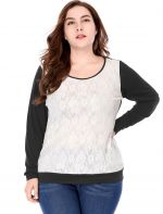 Agnes Orinda Women Plus Size Lace Panel Color Block Scoop Neck Top