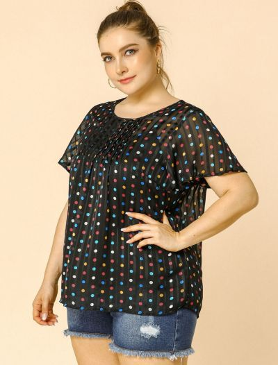 Women's Plus Size Blouses Polka Dots Short Sleeves Summer Chiffon Mesh Blouse Top Womens Day