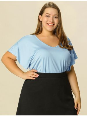 Women's Plus Size V Neck Top Work Ruffle Sleeve Loose Peplum Tops