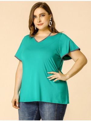 Women's Plus Size T Shirt V Neck Bell Sleeves Work T Shirts