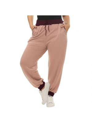 Women Plus Size Drawstring Waist Contrast Color Jogger Pants