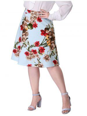 Women's  Floral Skirt Plus Size High Waisted A Line Full Midi Skirt