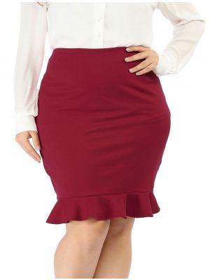 Women's Plus Size Fishtail Skirts Ruffle Hem Stretch Midi Pencil Skirt