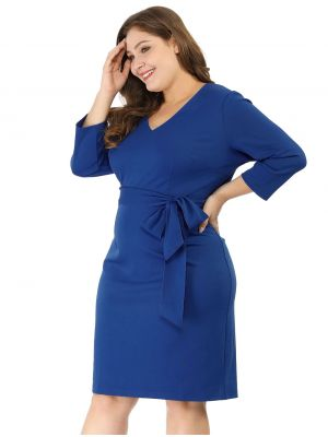 Women's Vneck 3/4 Sleeves Plus Size Casual Cocktail Blue Dress