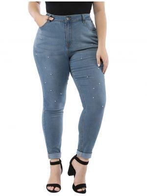Women's Plus Size Stretch Pockets Beads Skinny Jeans