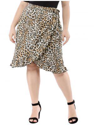 Women's Plus Size Ruffle Hem Tie Waist Wrap Leopard Skirt