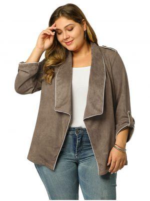 Women's Plus Size Open Front Cardigan Faux Suede Blazer Office Jacket