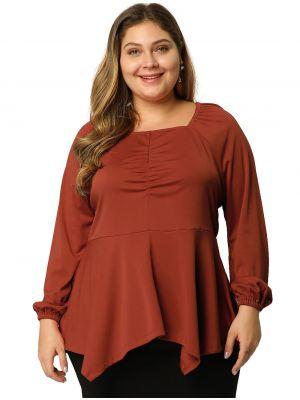 Women's Plus Size Blouse Tunic Square Neck Handkerchief Hem Empire Waist Long Sleeve Top