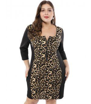 Women's Plus Size Dresses Cocktail Contrast Color Bodycon Leopard Dress
