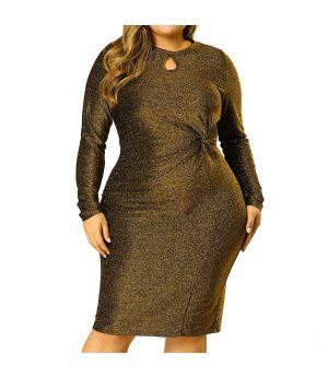 Women's Plus Size Party Dresses Club Glitter Bodycon Cocktail Sequin Midi Dress