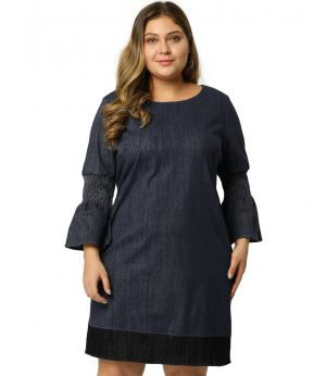Women's Plus Size Shift Dress Contrast Color Smock Sleeves Denim Chambray Dresses