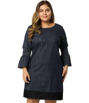 Women's Plus Size Denim Dress Contrast Color Smock Sleeves Chambray Midi Dresses