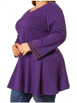 Women's Plus Size Blouse Scoop Neck Lace Trim Long Sleeve Tunic Top Women's Day