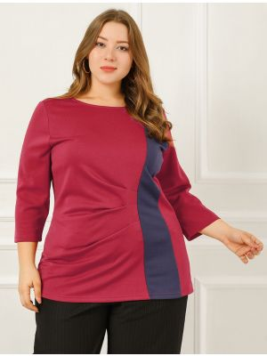 Women's Plus Size Blouse Round Neck Color Block Casual Summer Top