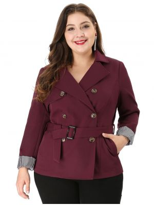 Women's Plus Size Double-Breasted Belted Trench Coat