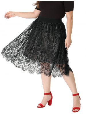 Women's Plus Size A-line Skirts Casual High Waist Flare Lace Skirt