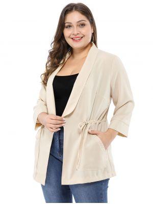 Women's Plus Size Work Open Front Drawstring Lightweight Jacket