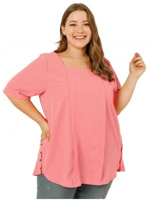 Women's Plus Size Blouses Chiffon Square Neck Pleated Casual Tops