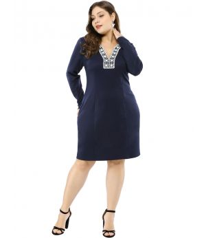 Women's Plus Size V Neck Dresses Peasant Embroidered Sheath Dress
